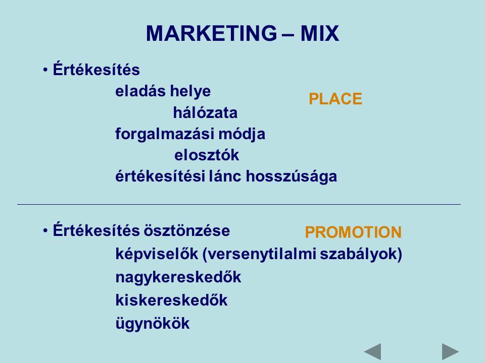 MARKETING – MIX Értékesítés eladás helye hálózata forgalmazási módja elosztók értékesítési lánc hosszúsága Értékesítés ösztönzése képviselők (versenytilalmi szabályok) nagykereskedők kiskereskedők ügynökök PROMOTION PLACE