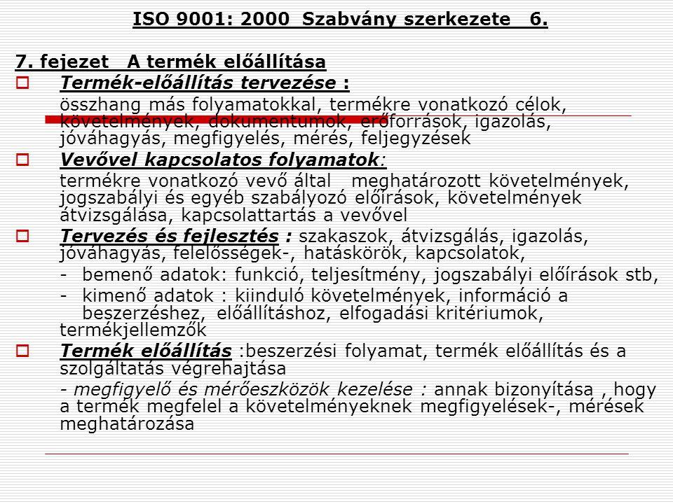 ISO 9001: 2000 Szabvány szerkezete 5. 6.fejezet Erőforrás gazdálkodás Erőforrás biztosítása a rendszer bevezetéséhez és fenntartásához, a vevő megelég