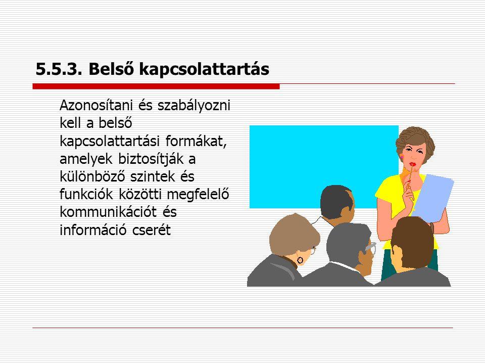 5.5.2. A vezetőség képviselője  legfelső vezetése egy vagy több tagja  hatáskör és felelősség létrehozza, üzembe helyezze és fenntartsa a minőségirá