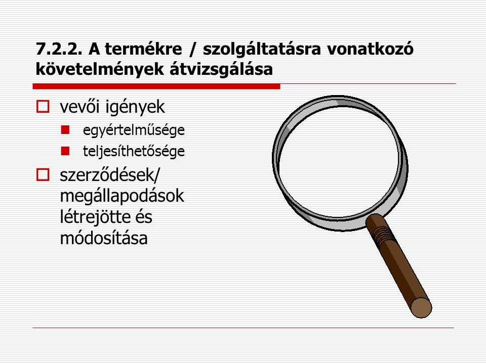 7.2.1. A termékre / szolgáltatásra vonatkozó követelmények meghatározása  kommunikációs csatornák  kifejezett vevői követelmények,  olyan követelmé