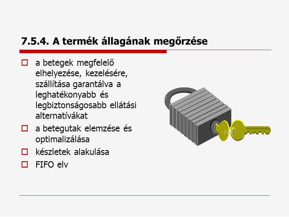7.5.4. A vevő tulajdona  érték/birtoktárgyak, illetve a tulajdon megóvása és kezelése  betegek személyes adatainak kezelése  a beteg által hozott l