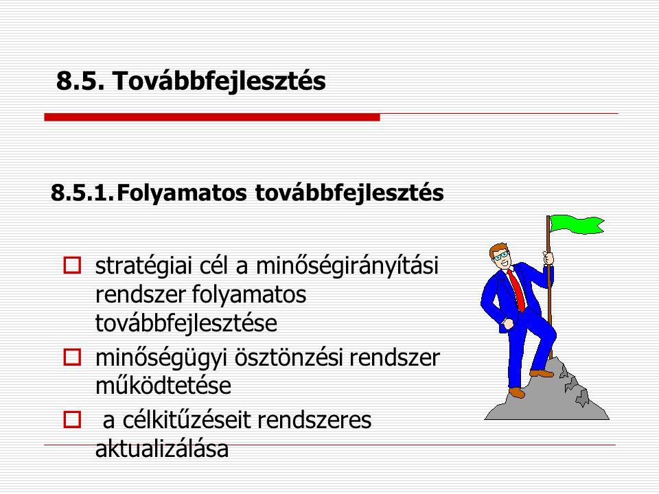 8.4. Az adatok elemzése  információs és informatikai rendszer  megfelelő információk beszerzése  statisztikai módszerek alkalmazása: –a minőségirán