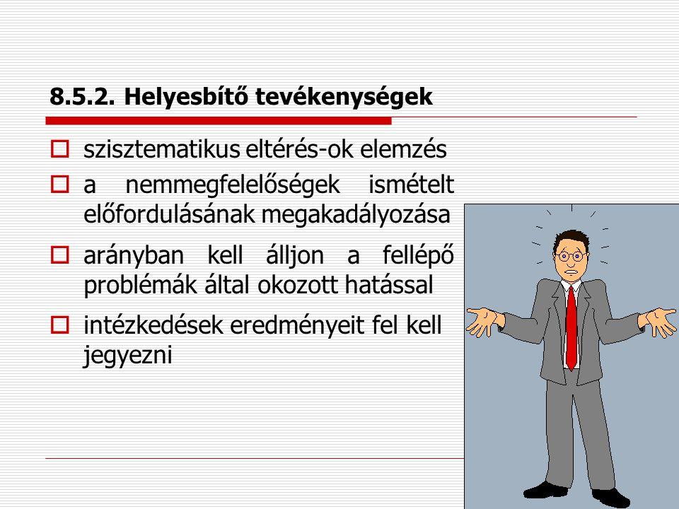 8.5.1.Folyamatos továbbfejlesztés  stratégiai cél a minőségirányítási rendszer folyamatos továbbfejlesztése  minőségügyi ösztönzési rendszer működte