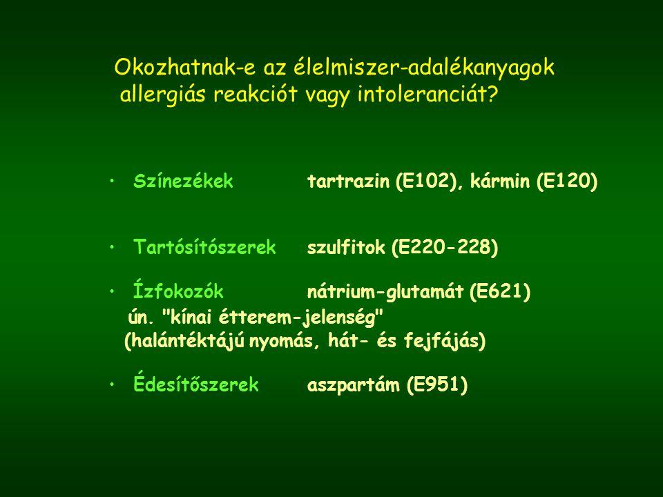 Okozhatnak-e az élelmiszer-adalékanyagok allergiás reakciót vagy intoleranciát? Színezékektartrazin (E102), kármin (E120) Tartósítószerekszulfitok (E2