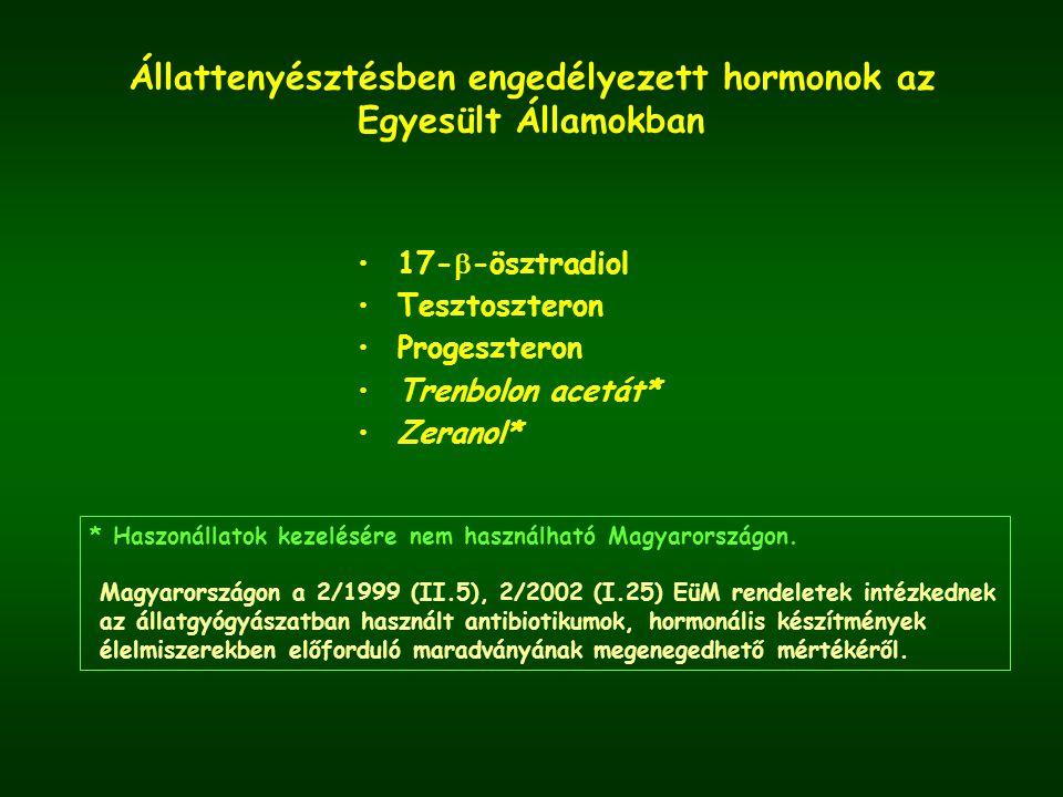 Állattenyésztésben engedélyezett hormonok az Egyesült Államokban 17-  -ösztradiol Tesztoszteron Progeszteron Trenbolon acetát* Zeranol* * Haszonállatok kezelésére nem használható Magyarországon.