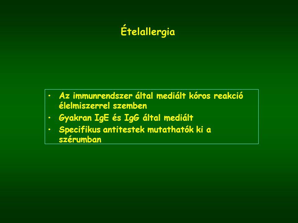 Ételallergia Az immunrendszer által mediált kóros reakció élelmiszerrel szemben Gyakran IgE és IgG által mediált Specifikus antitestek mutathatók ki a szérumban