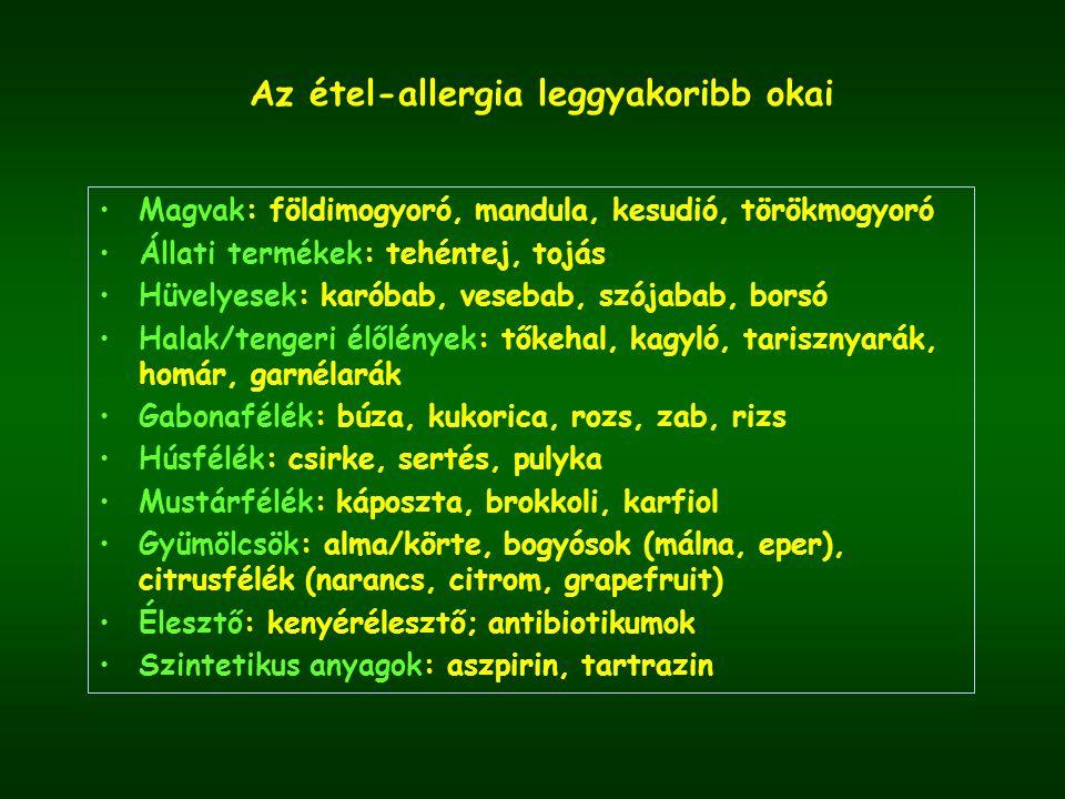 Az étel-allergia leggyakoribb okai Magvak: földimogyoró, mandula, kesudió, törökmogyoró Állati termékek: tehéntej, tojás Hüvelyesek: karóbab, vesebab, szójabab, borsó Halak/tengeri élőlények: tőkehal, kagyló, tarisznyarák, homár, garnélarák Gabonafélék: búza, kukorica, rozs, zab, rizs Húsfélék: csirke, sertés, pulyka Mustárfélék: káposzta, brokkoli, karfiol Gyümölcsök: alma/körte, bogyósok (málna, eper), citrusfélék (narancs, citrom, grapefruit) Élesztő: kenyérélesztő; antibiotikumok Szintetikus anyagok: aszpirin, tartrazin