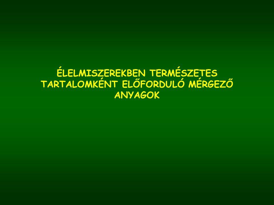 Gyilkos galóca (Amanita phaloides) falloin, falloidin, amanitin - májsejteket károsítja - lappangási idő: 8-24 óra - tünetek: - hányás, hasmenés, - sárgaság, májmegnagyobbodás - veseelégtelenség Gyilkos galóca (Amanita phalloides)