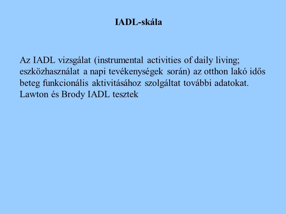 A Katz ADL indexet (a mindennapi aktivitás megítélésére) széles körben használják, az otthon lakó idősek funkcionális károsodásainak megítélésére nem