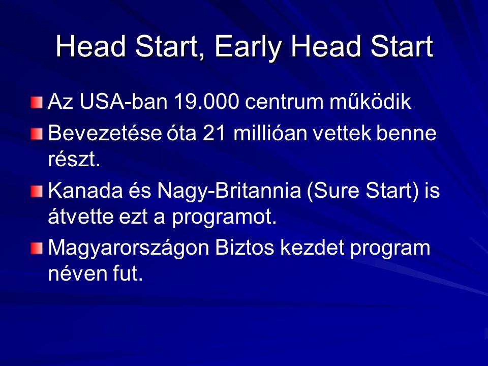 Head Start, Early Head Start Az USA-ban 19.000 centrum működik Bevezetése óta 21 millióan vettek benne részt. Kanada és Nagy-Britannia (Sure Start) is