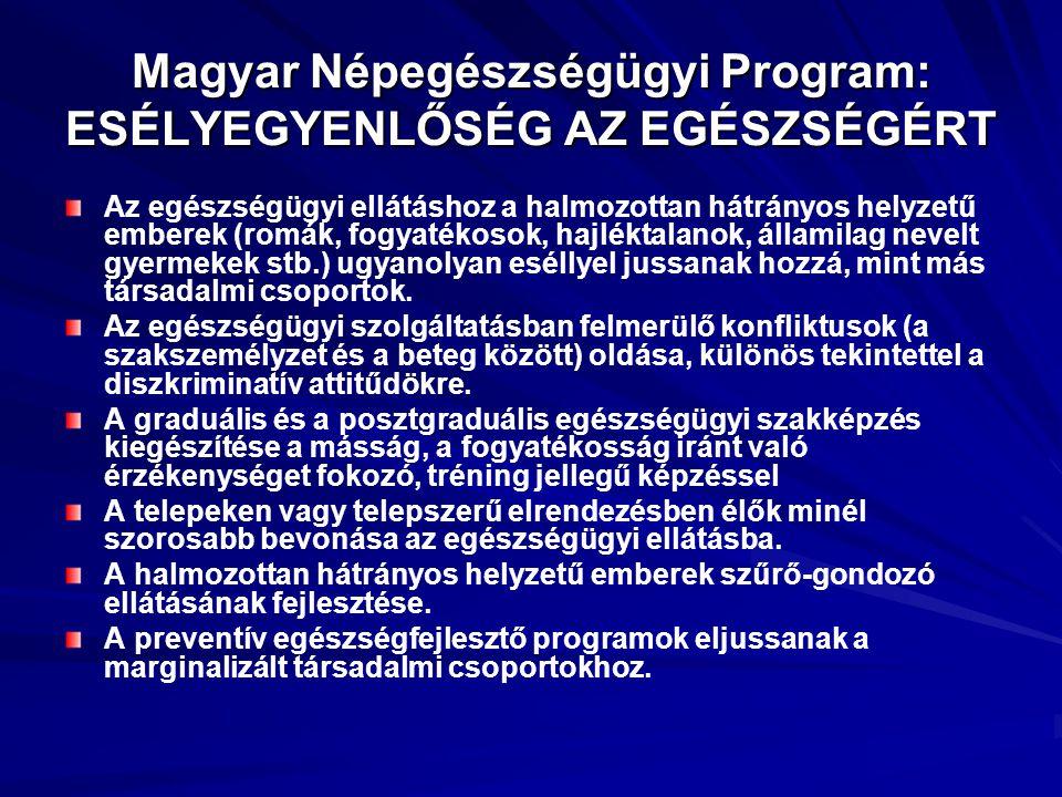 Magyar Népegészségügyi Program: ESÉLYEGYENLŐSÉG AZ EGÉSZSÉGÉRT Az egészségügyi ellátáshoz a halmozottan hátrányos helyzetű emberek (romák, fogyatékoso