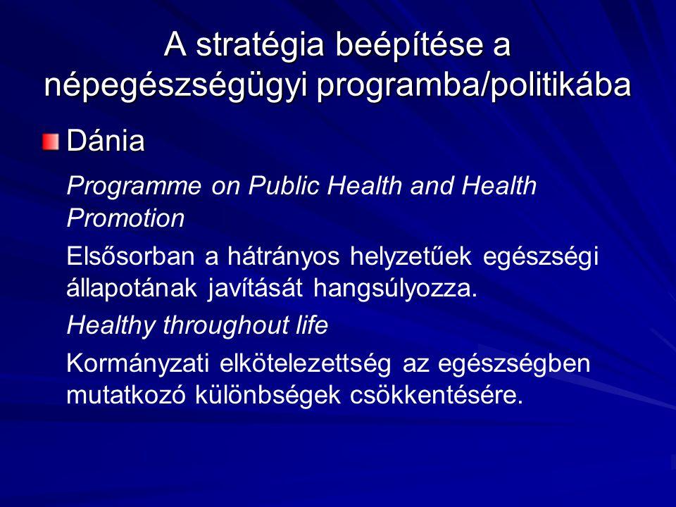 Dánia Programme on Public Health and Health Promotion Elsősorban a hátrányos helyzetűek egészségi állapotának javítását hangsúlyozza. Healthy througho