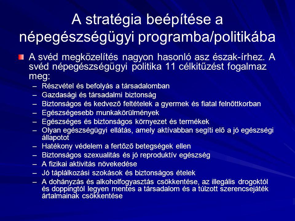 A svéd megközelítés nagyon hasonló asz észak-írhez. A svéd népegészségügyi politika 11 célkitűzést fogalmaz meg: – –Részvétel és befolyás a társadalom