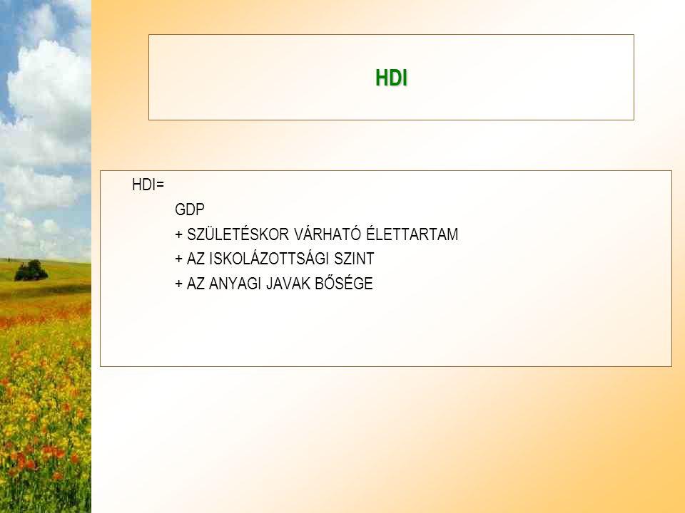 HDI HDI= GDP + SZÜLETÉSKOR VÁRHATÓ ÉLETTARTAM + AZ ISKOLÁZOTTSÁGI SZINT + AZ ANYAGI JAVAK BŐSÉGE