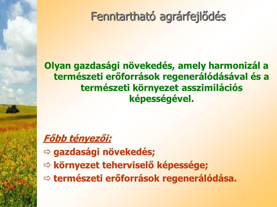 Fenntartható agrárfejlődés Olyan gazdasági növekedés, amely harmonizál a természeti erőforrások regenerálódásával és a természeti környezet asszimilác