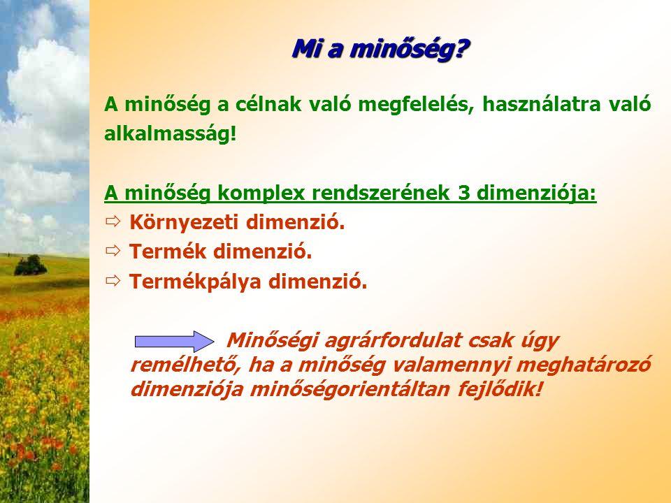 Mi a minőség? A minőség a célnak való megfelelés, használatra való alkalmasság! A minőség komplex rendszerének 3 dimenziója:  Környezeti dimenzió. 