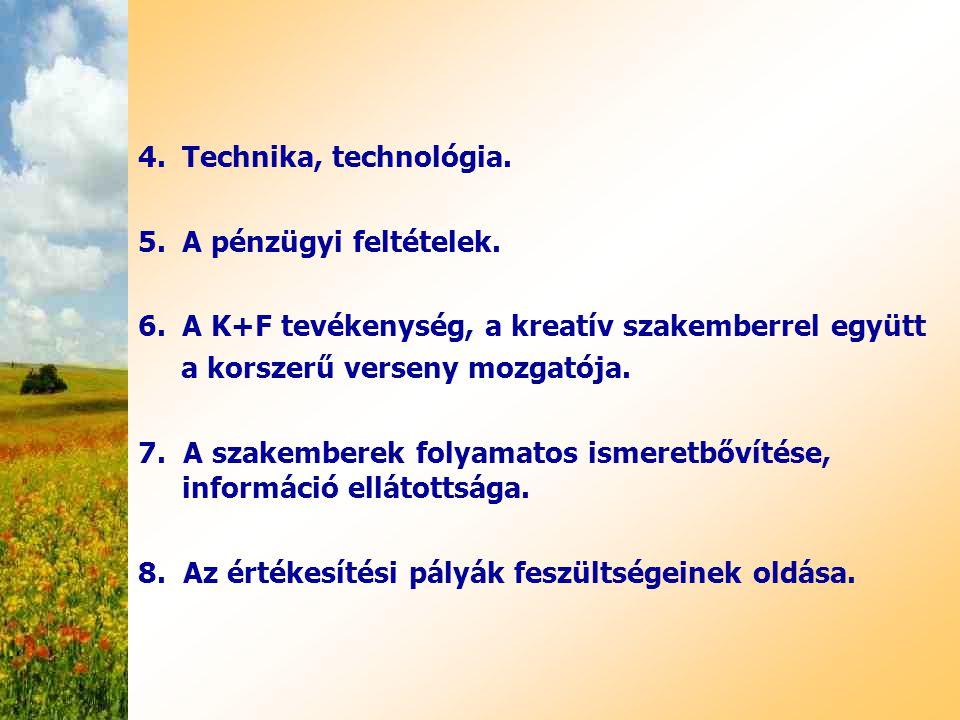 4.Technika, technológia. 5.A pénzügyi feltételek. 6.A K+F tevékenység, a kreatív szakemberrel együtt a korszerű verseny mozgatója. 7. A szakemberek fo