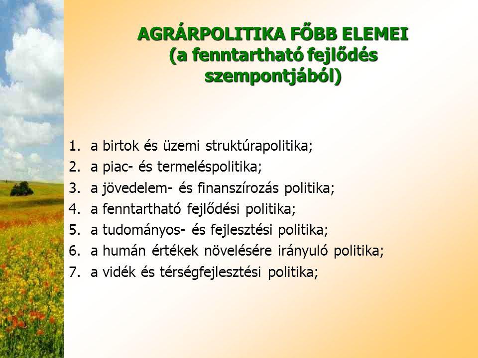 AGRÁRPOLITIKA FŐBB ELEMEI (a fenntartható fejlődés szempontjából) 1.a birtok és üzemi struktúrapolitika; 2.a piac- és termeléspolitika; 3.a jövedelem-