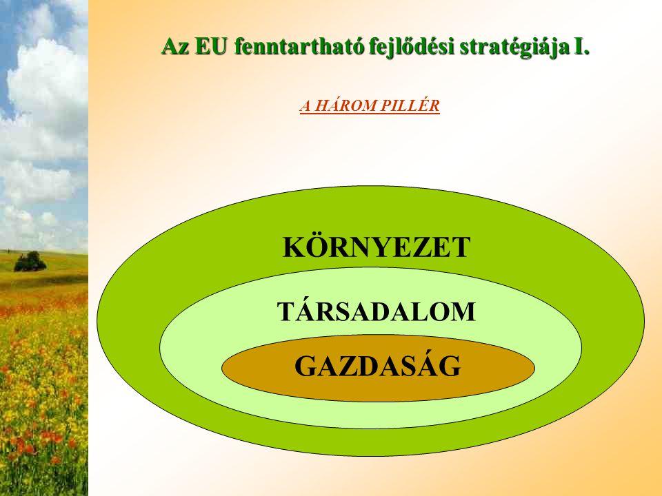 Az EU fenntartható fejlődési stratégiája I. A HÁROM PILLÉR KÖRNYEZET TÁRSADALOM GAZDASÁG