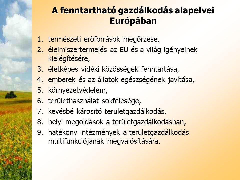 A fenntartható gazdálkodás alapelvei Európában 1.természeti erőforrások megőrzése, 2.élelmiszertermelés az EU és a világ igényeinek kielégítésére, 3.é