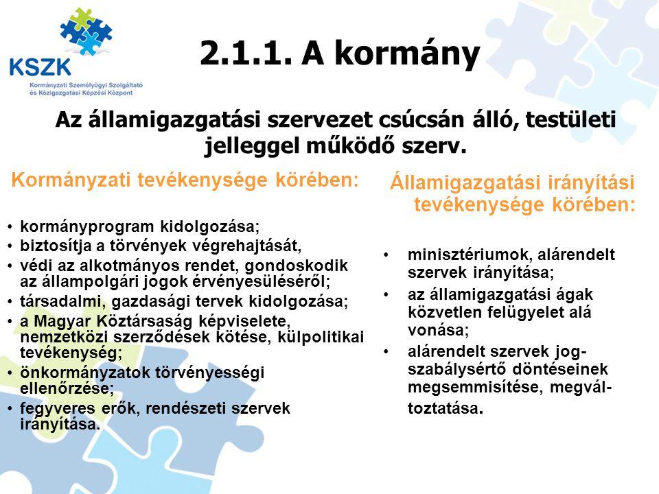 2.1.1. A kormány Kormányzati tevékenysége körében: kormányprogram kidolgozása; biztosítja a törvények végrehajtását, védi az alkotmányos rendet, gondo