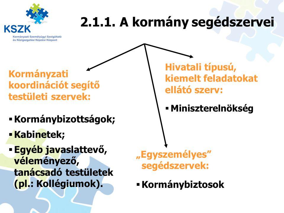 12 2.1.1. A kormány segédszervei Kormányzati koordinációt segítő testületi szervek:  Kormánybizottságok;  Kabinetek;  Egyéb javaslattevő, véleménye
