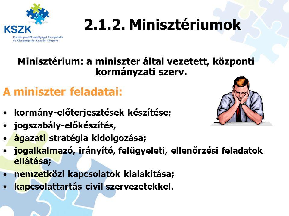 2.1.2. Minisztériumok Minisztérium: a miniszter által vezetett, központi kormányzati szerv. 13 A miniszter feladatai: kormány-előterjesztések készítés