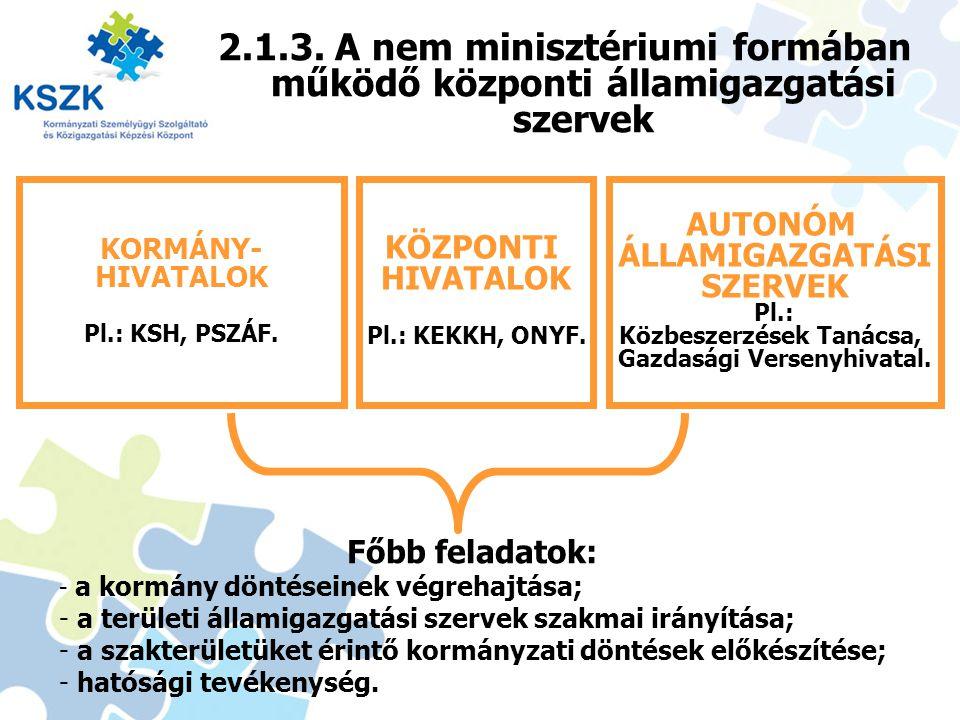 2.1.3. A nem minisztériumi formában működő központi államigazgatási szervek 14 KORMÁNY- HIVATALOK Pl.: KSH, PSZÁF. KÖZPONTI HIVATALOK Pl.: KEKKH, ONYF