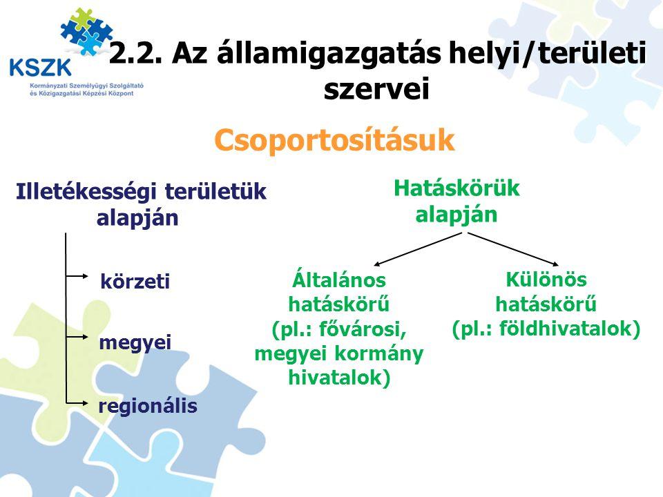 2.2. Az államigazgatás helyi/területi szervei 15 Csoportosításuk Illetékességi területük alapján Hatáskörük alapján Általános hatáskörű (pl.: fővárosi