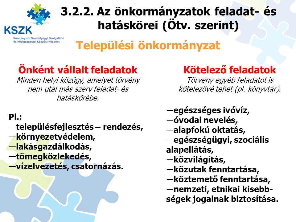 22 3.2.2. Az önkormányzatok feladat- és hatáskörei (Ötv. szerint) Települési önkormányzat Önként vállalt feladatok Minden helyi közügy, amelyet törvén