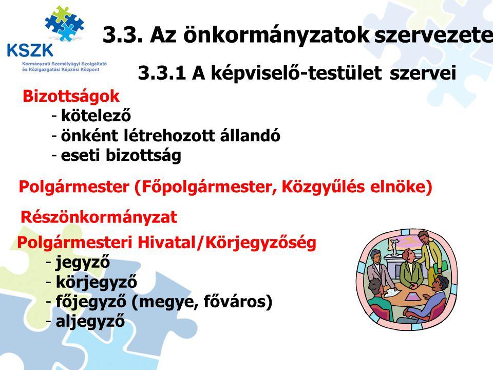 3.3. Az önkormányzatok szervezete 24 3.3.1 A képviselő-testület szervei Bizottságok -kötelező -önként létrehozott állandó -eseti bizottság Polgármeste