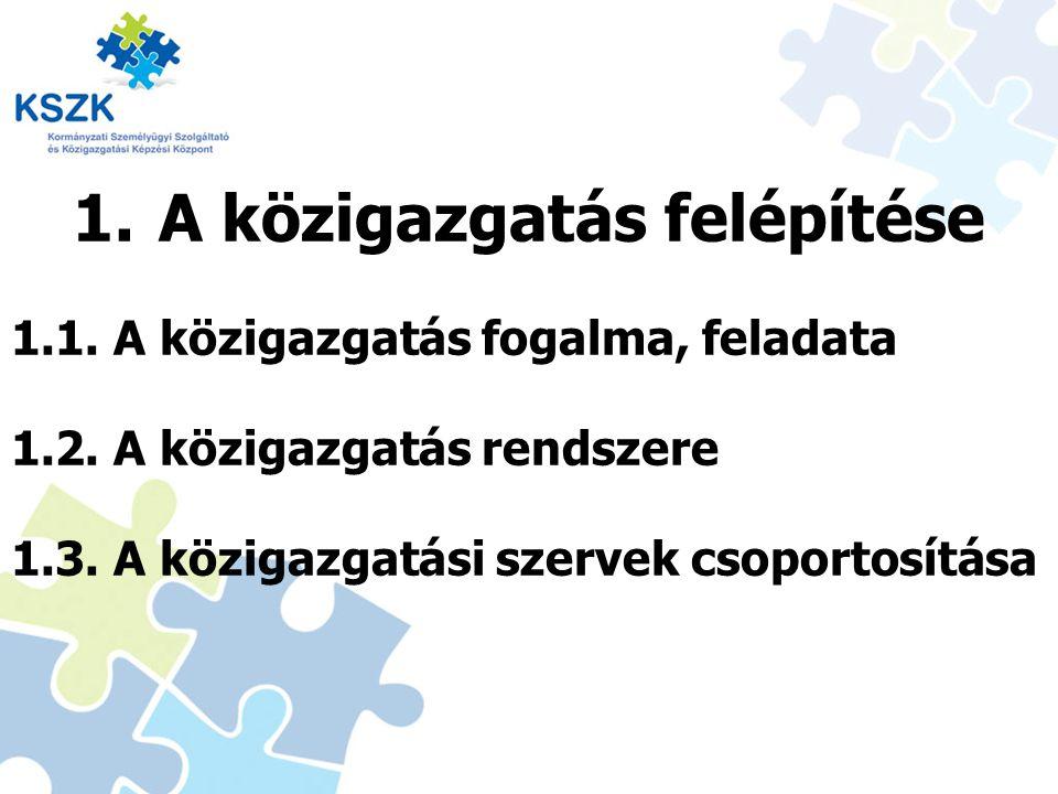 1.A közigazgatás felépítése 1.1. A közigazgatás fogalma, feladata 1.2. A közigazgatás rendszere 1.3. A közigazgatási szervek csoportosítása 3