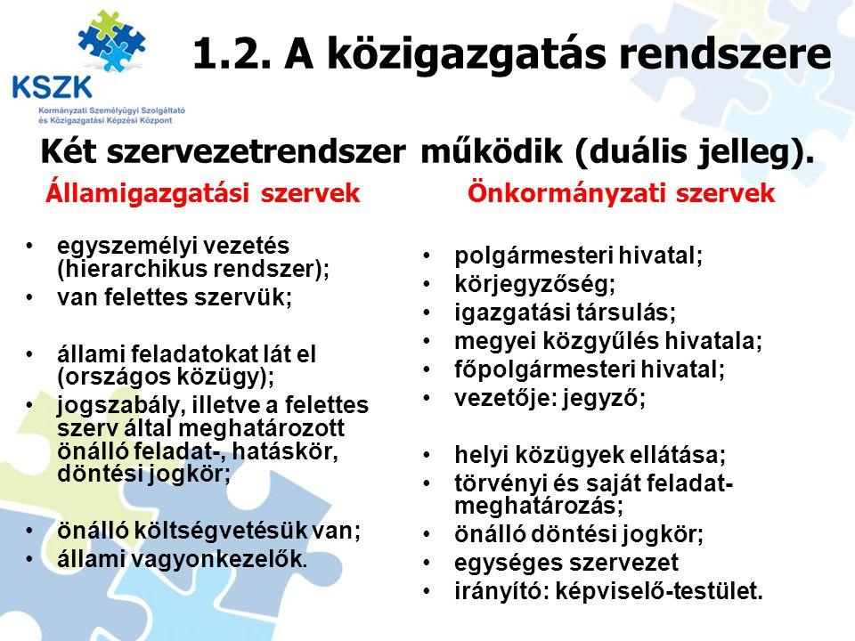 1.2. A közigazgatás rendszere egyszemélyi vezetés (hierarchikus rendszer); van felettes szervük; állami feladatokat lát el (országos közügy); jogszabá