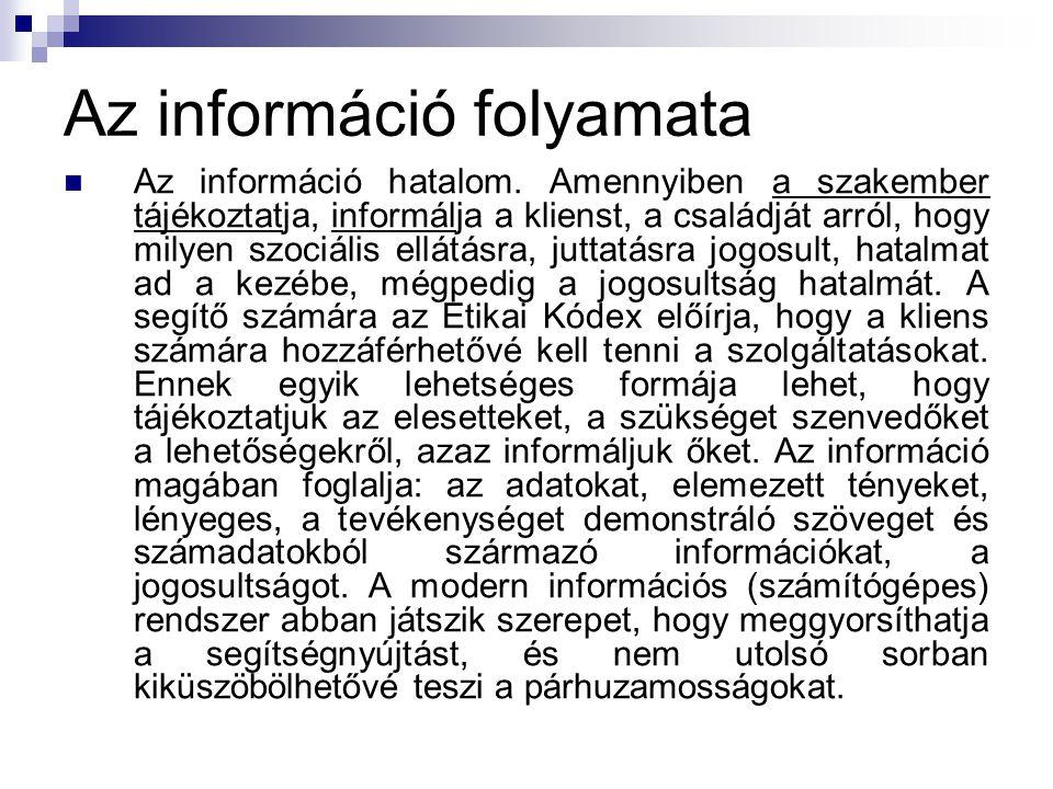 Az információ folyamata Az információ hatalom. Amennyiben a szakember tájékoztatja, informálja a klienst, a családját arról, hogy milyen szociális ell