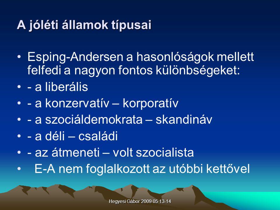 Hegyesi Gábor 2009 05 13-14 A jóléti államok típusai Esping-Andersen a hasonlóságok mellett felfedi a nagyon fontos különbségeket: - a liberális - a k