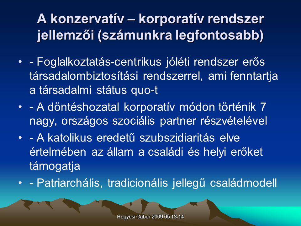 Hegyesi Gábor 2009 05 13-14 A konzervatív – korporatív rendszer jellemzői (számunkra legfontosabb) - Foglalkoztatás-centrikus jóléti rendszer erős tár