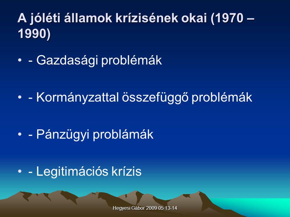Hegyesi Gábor 2009 05 13-14 A jóléti államok krízisének okai (1970 – 1990) - Gazdasági problémák - Kormányzattal összefüggő problémák - Pánzügyi probl