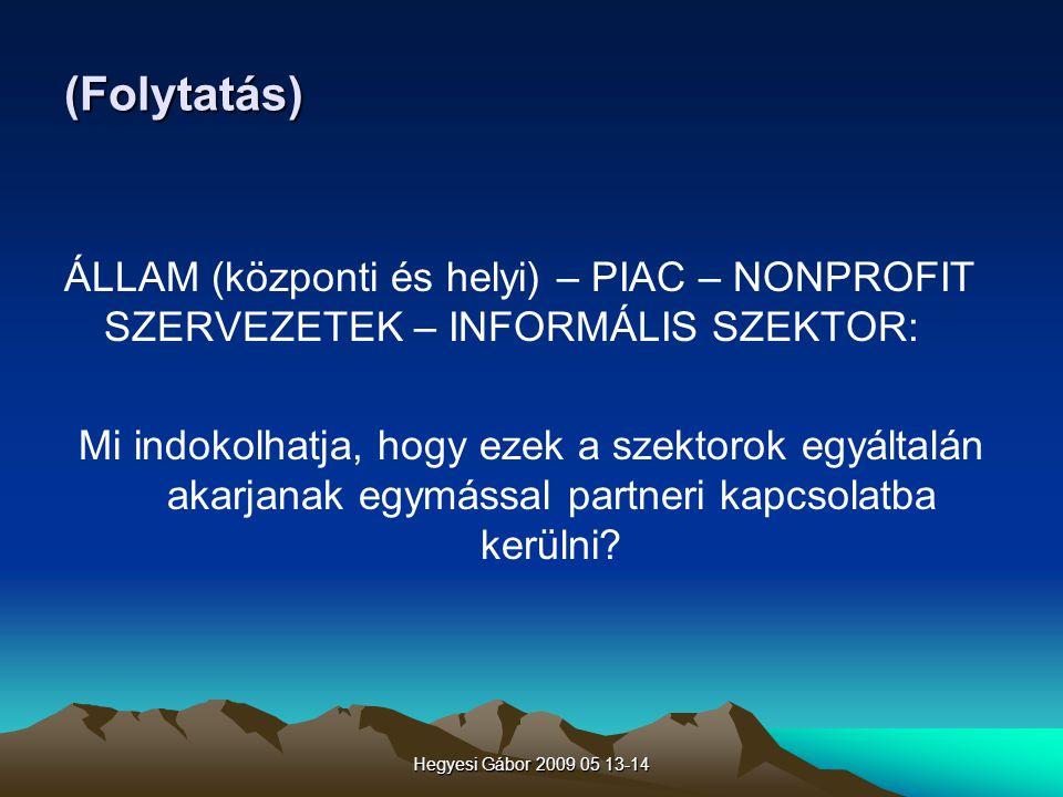 Hegyesi Gábor 2009 05 13-14 (Folytatás) ÁLLAM (központi és helyi) – PIAC – NONPROFIT SZERVEZETEK – INFORMÁLIS SZEKTOR: Mi indokolhatja, hogy ezek a sz