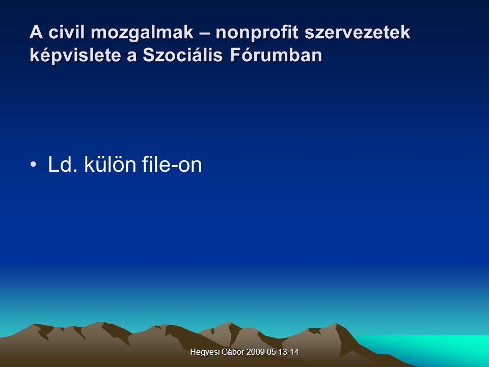 Hegyesi Gábor 2009 05 13-14 A civil mozgalmak – nonprofit szervezetek képvislete a Szociális Fórumban Ld. külön file-on