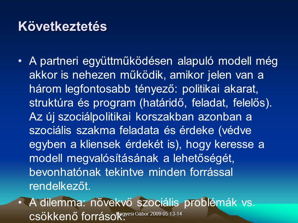 Hegyesi Gábor 2009 05 13-14 Következtetés A partneri együttműködésen alapuló modell még akkor is nehezen működik, amikor jelen van a három legfontosab