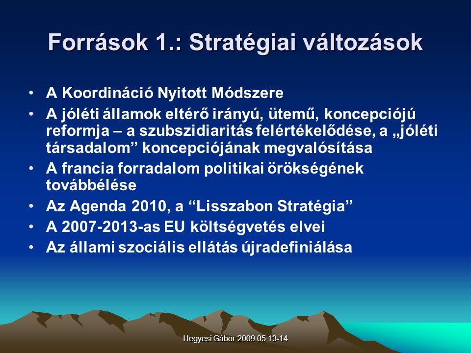 Hegyesi Gábor 2009 05 13-14 Források 1.: Stratégiai változások A Koordináció Nyitott Módszere A jóléti államok eltérő irányú, ütemű, koncepciójú refor
