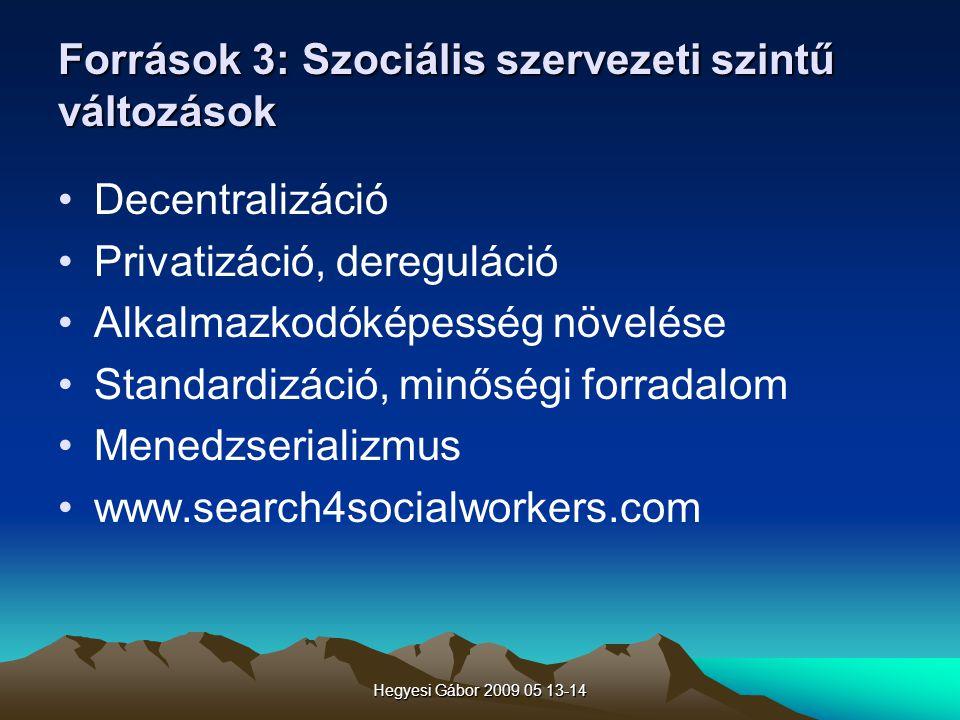 Hegyesi Gábor 2009 05 13-14 Források 3: Szociális szervezeti szintű változások Decentralizáció Privatizáció, dereguláció Alkalmazkodóképesség növelése