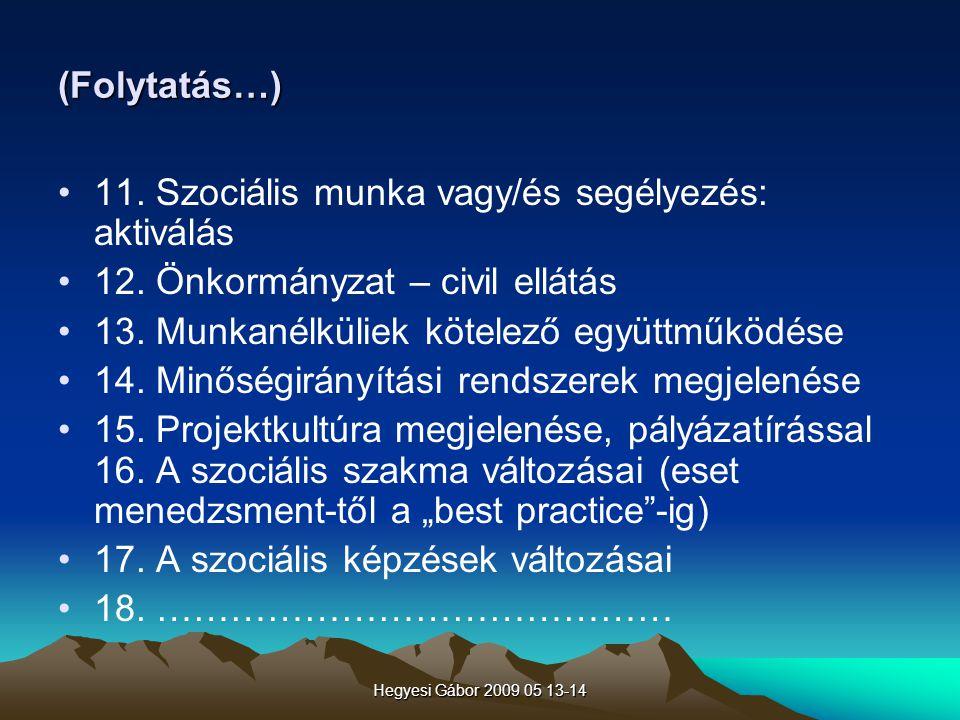 Hegyesi Gábor 2009 05 13-14 A civil mozgalmak – nonprofit szervezetek képvislete a Szociális Fórumban Ld.