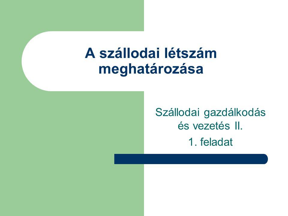 A szállodai létszám meghatározása Szállodai gazdálkodás és vezetés II. 1. feladat
