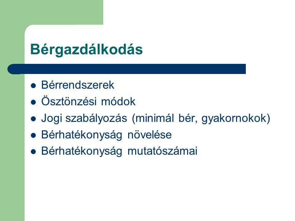 Bérgazdálkodás Bérrendszerek Ösztönzési módok Jogi szabályozás (minimál bér, gyakornokok) Bérhatékonyság növelése Bérhatékonyság mutatószámai