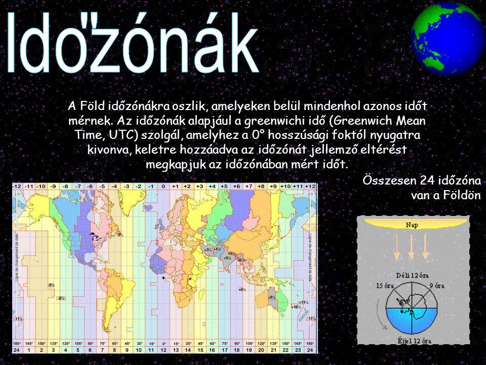 A Föld időzónákra oszlik, amelyeken belül mindenhol azonos időt mérnek. Az időzónák alapjául a greenwichi idő (Greenwich Mean Time, UTC) szolgál, amel