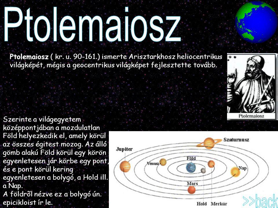 Ptolemaiosz ( kr. u. 90-161.) ismerte Arisztarkhosz heliocentrikus világképét, mégis a geocentrikus világképet fejlesztette tovább. Szerinte a világeg