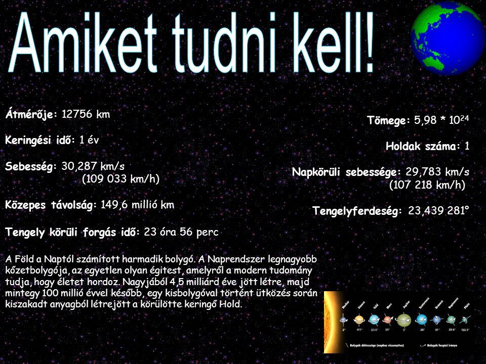 Átmérője: 12756 km Keringési idő: 1 év Sebesség: 30,287 km/s (109 033 km/h) Közepes távolság: 149,6 millió km Tengely körüli forgás idő: 23 óra 56 per