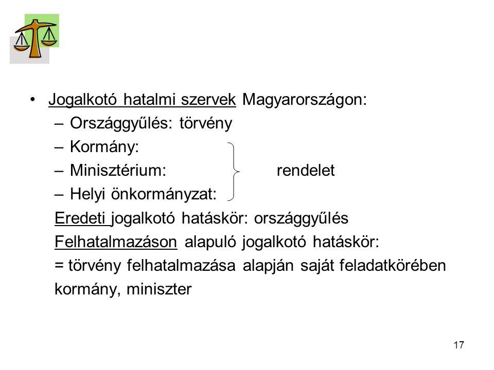 17 Jogalkotó hatalmi szervek Magyarországon: –Országgyűlés: törvény –Kormány: –Minisztérium:rendelet –Helyi önkormányzat: Eredeti jogalkotó hatáskör: országgyűlés Felhatalmazáson alapuló jogalkotó hatáskör: = törvény felhatalmazása alapján saját feladatkörében kormány, miniszter