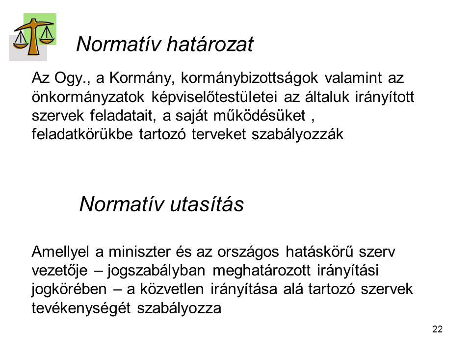 22 Normatív határozat Az Ogy., a Kormány, kormánybizottságok valamint az önkormányzatok képviselőtestületei az általuk irányított szervek feladatait, a saját működésüket, feladatkörükbe tartozó terveket szabályozzák Normatív utasítás Amellyel a miniszter és az országos hatáskörű szerv vezetője – jogszabályban meghatározott irányítási jogkörében – a közvetlen irányítása alá tartozó szervek tevékenységét szabályozza